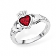 Sterling silver rubover set garnet claddagh ring